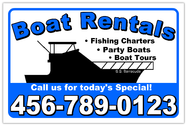 Boat Rental Sign Template
