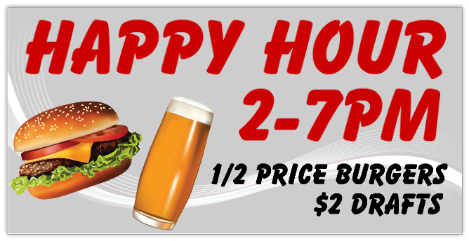 Happy Hour 101 Restaurant Bar Banner Templates Design